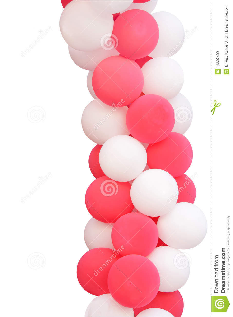 Pink And White Balloons Isolated On White Stock Image