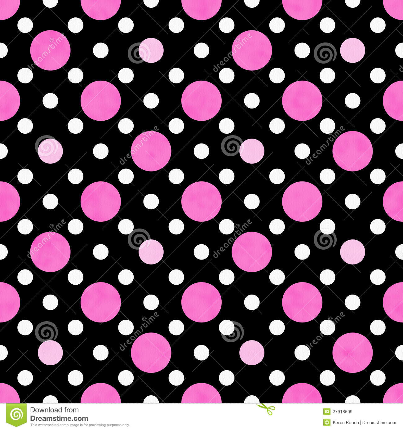 Pink, White and Black Polka Dot Fabric Background