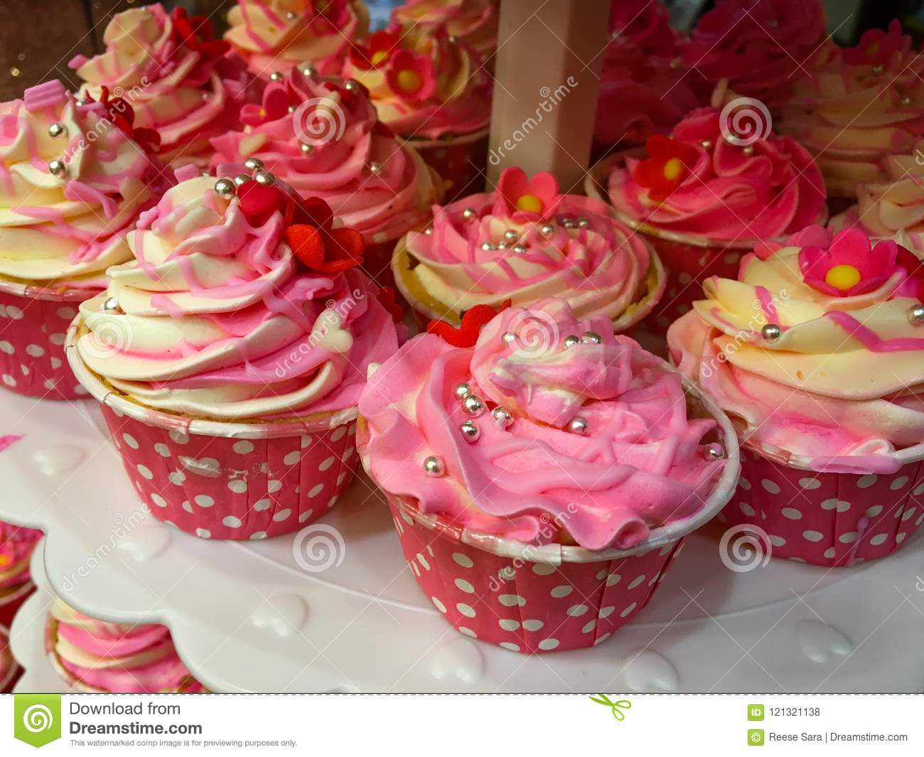 Pink And White Cup Cakes Home Made For Party