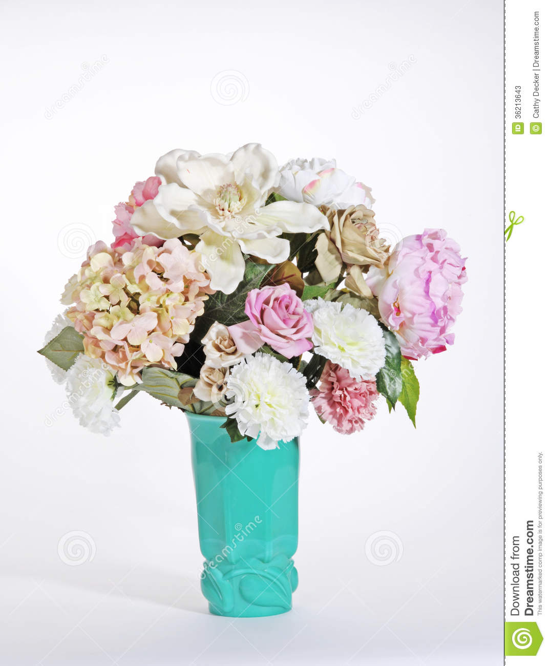 Pink and white flowers in a turquoise green deco vase stock image pink and white flowers in a turquoise green deco vase mightylinksfo