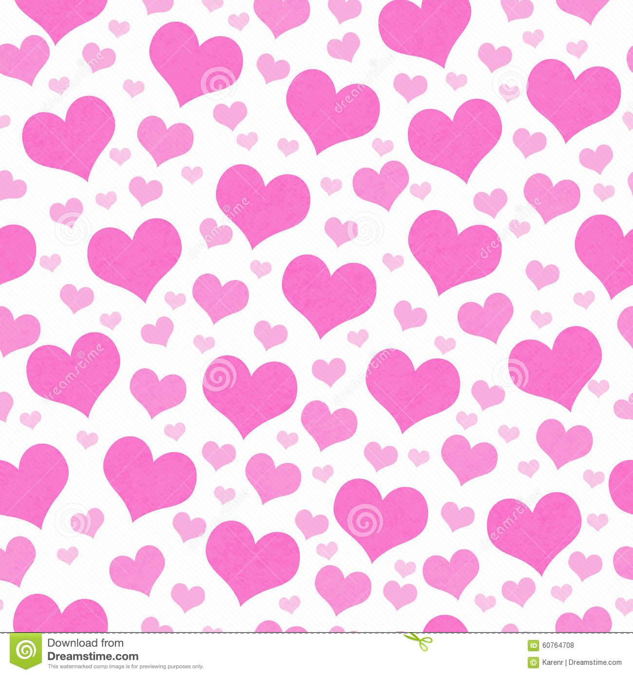 Pink And White Hearts Tile Pattern Repeat Background Stock