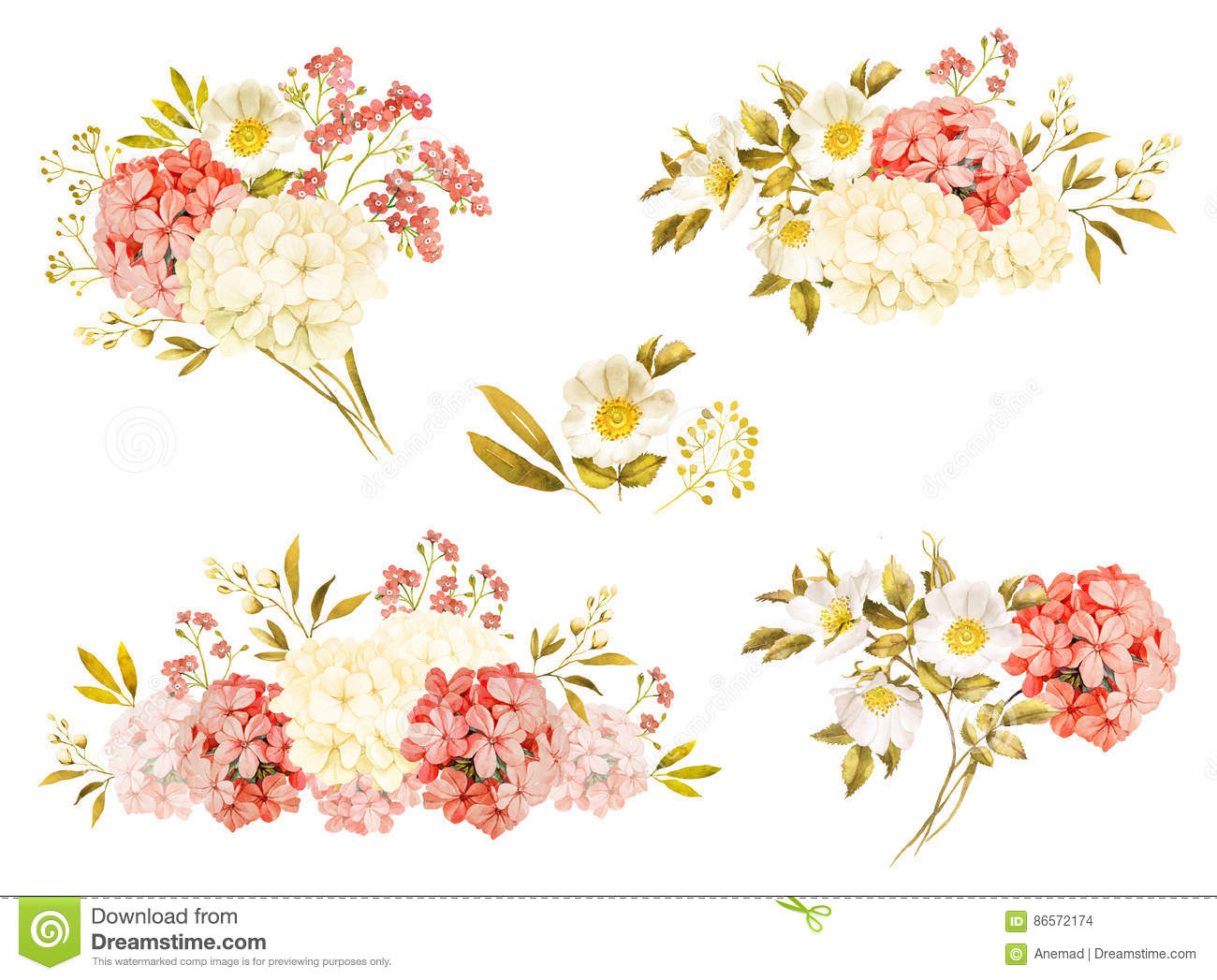 Pink white jasmine hydrangea rose flowers wedding watercolor stock pink white jasmine hydrangea rose flowers wedding watercolor izmirmasajfo