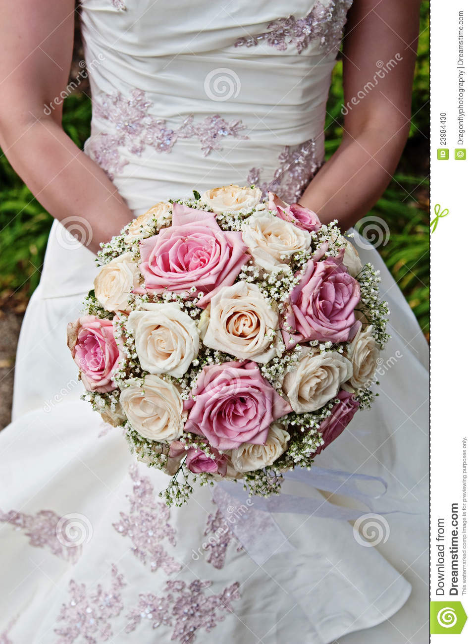 Pink And White Rose Bridal Bouquet Stock Photo - Image of greenery ...
