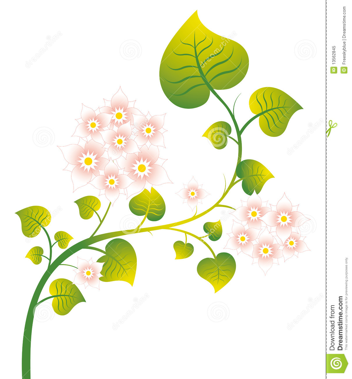 Pink wild flower and green leaves stock illustration illustration pink wild flower and green leaves mightylinksfo