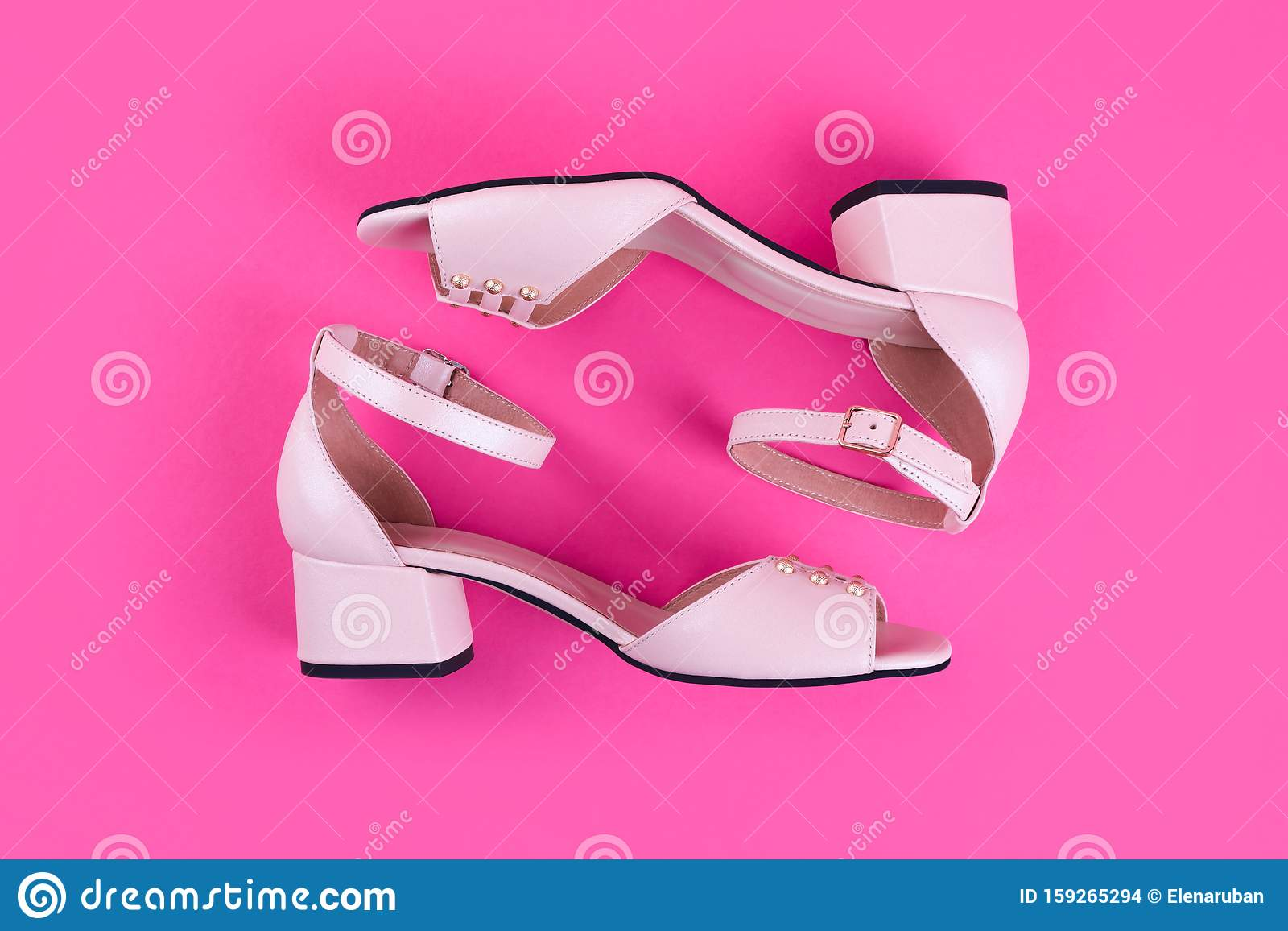 Pink woman shoes on heels stock photo
