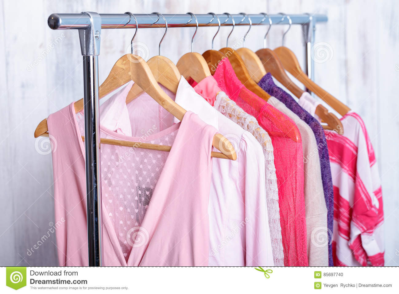 Download Pink Womens Clothes On Hangers On Rack In Fashion Store. Closet  Stock Photo
