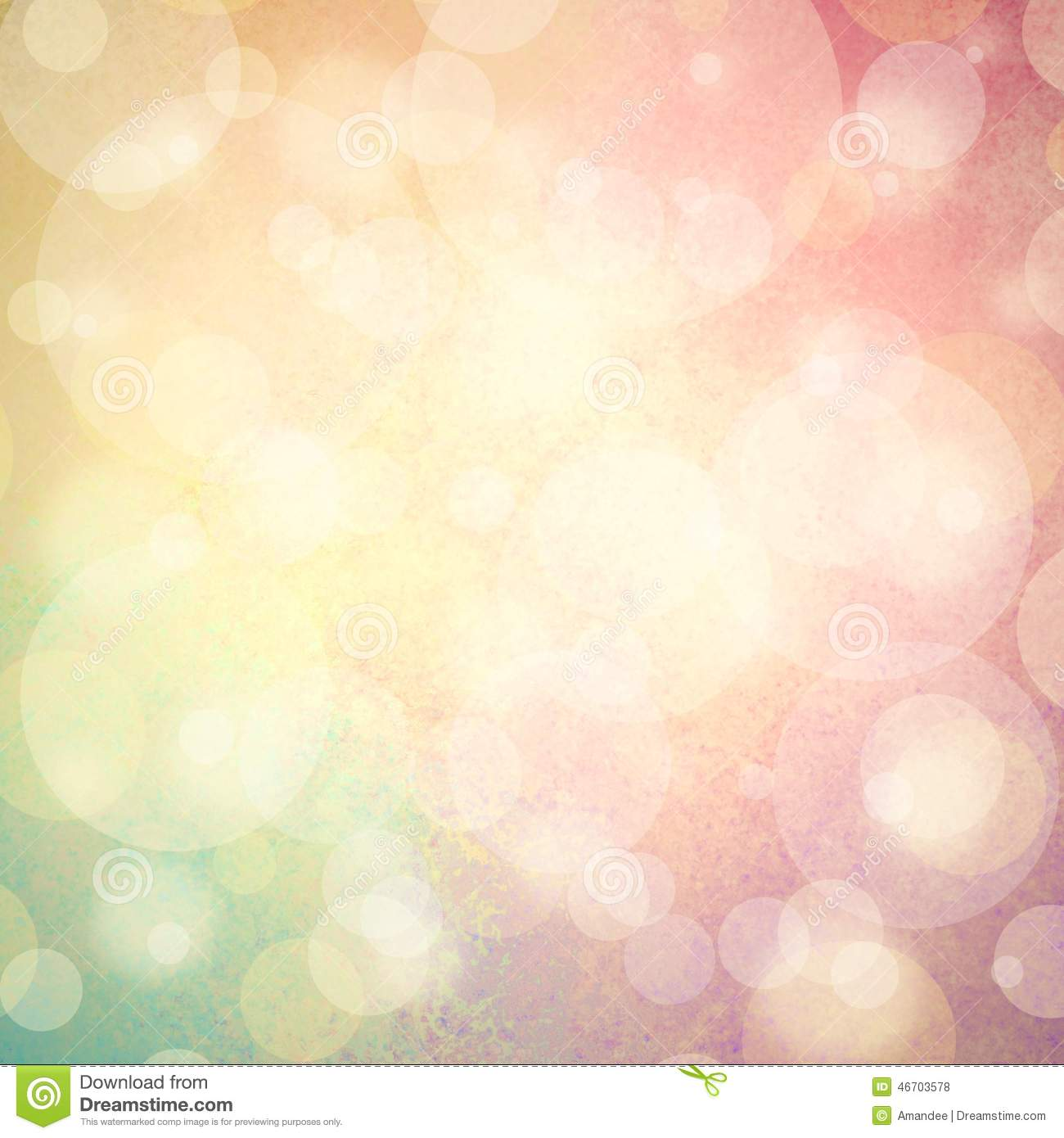 Pink yellow and blue green background with white bubbles or bokeh lights