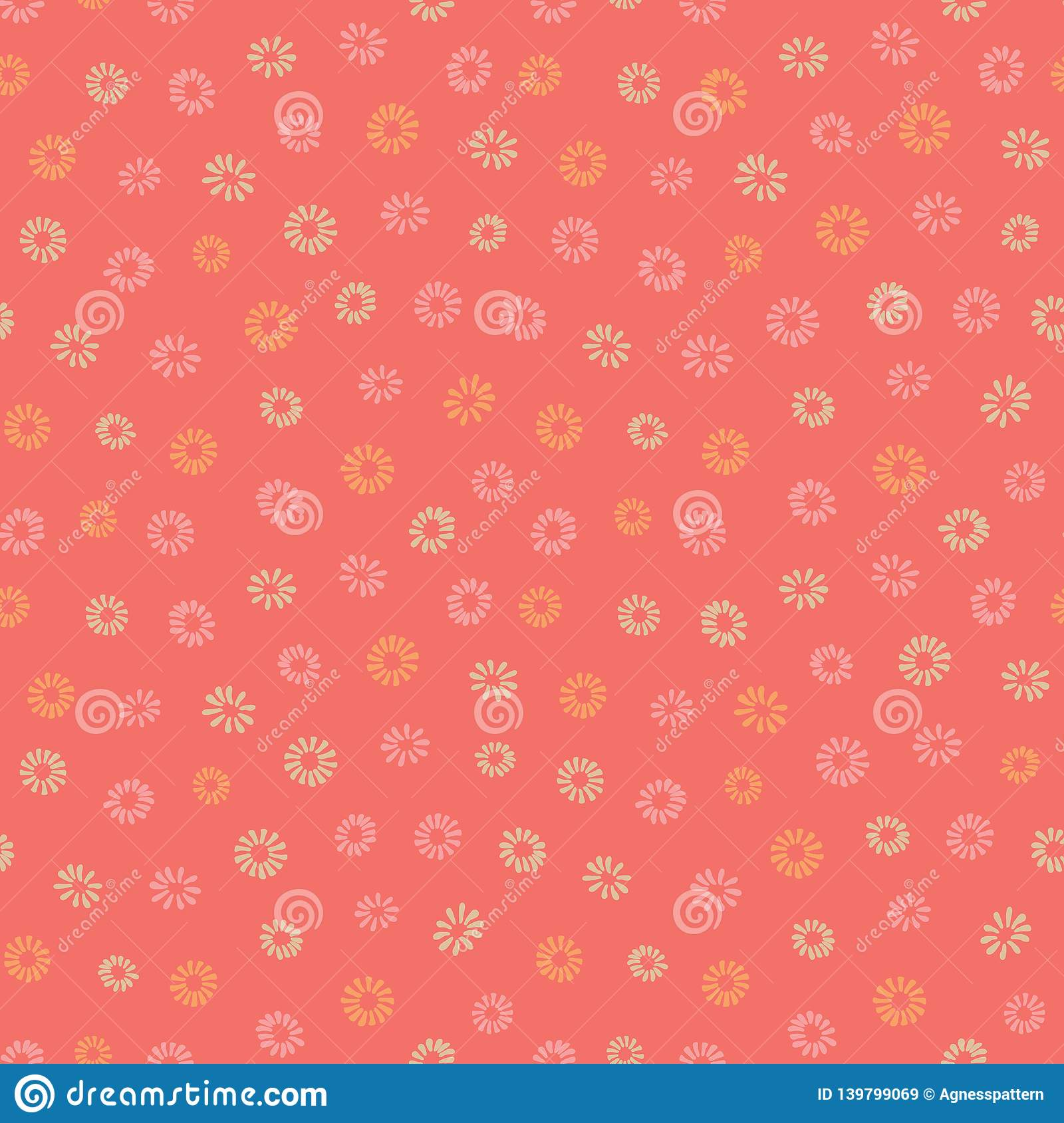 Pink And Yellow Flowers On Coral Background Simple Ditsy Girly