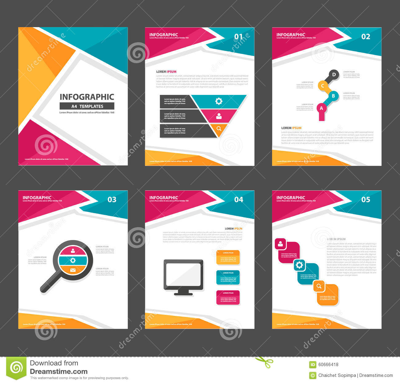 pink yellow green infographic elements presentation template flat, Templates