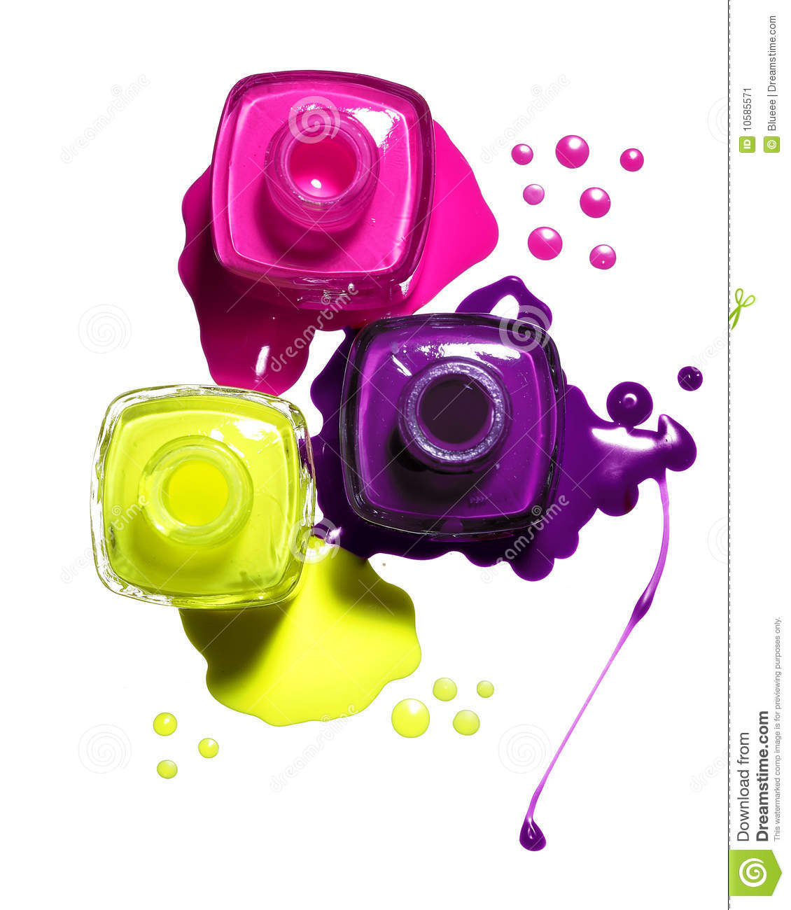 Pink, Yellow, Purple Nail Polish Stock Image
