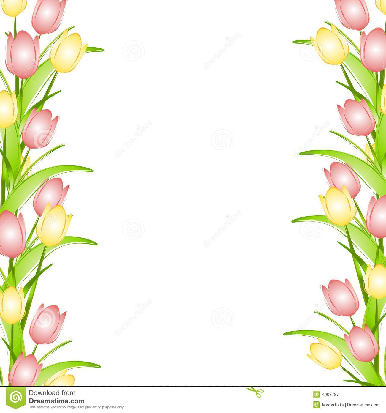 Pink Yellow Spring Tulips Flower Border Stock Illustration