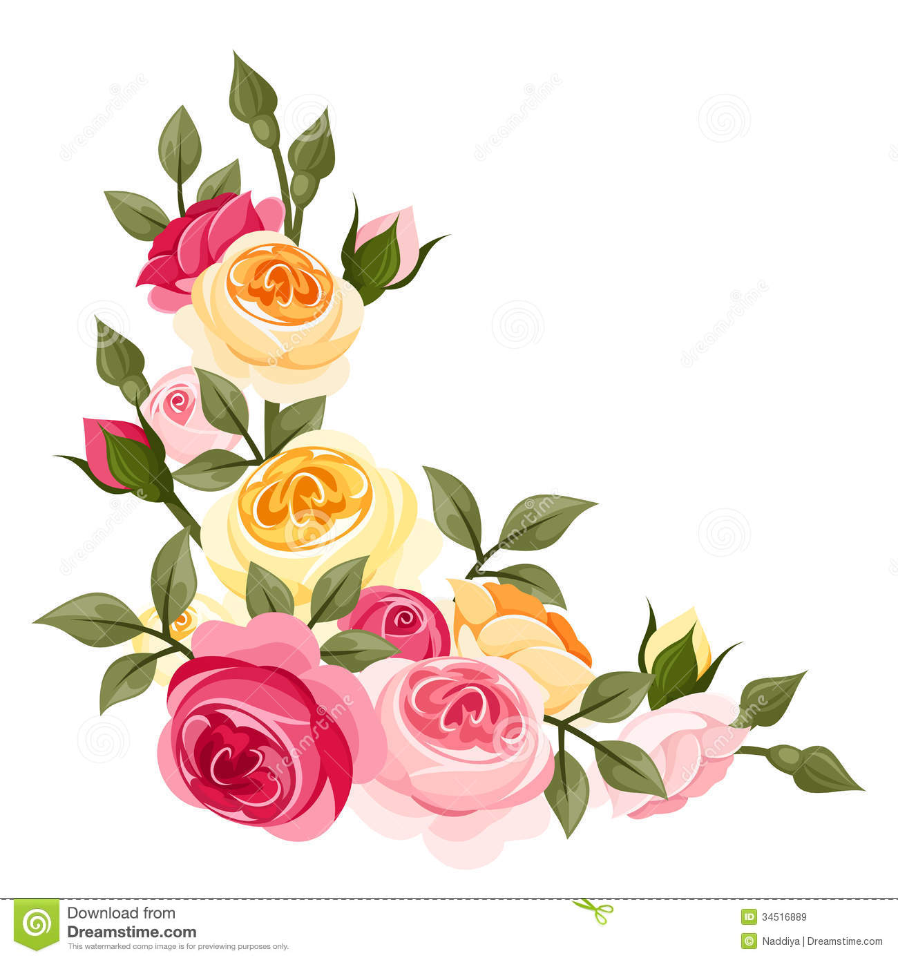 Download Pink And Yellow Vintage Roses Stock Vector