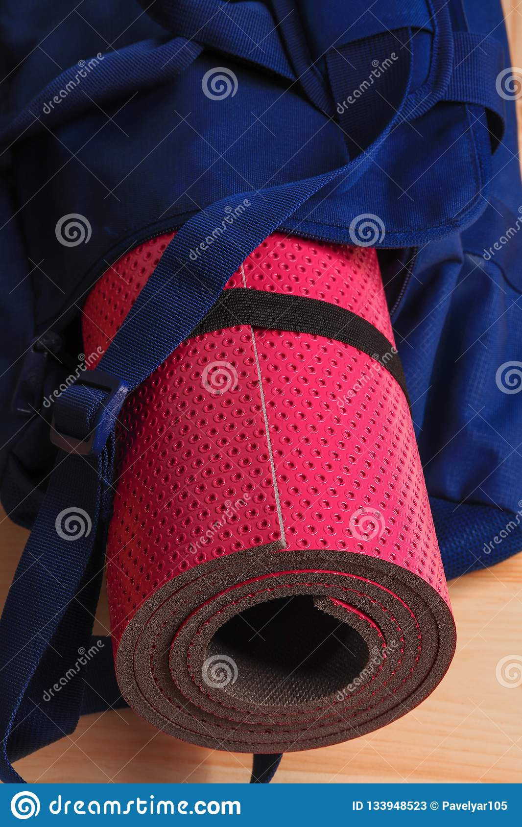 Pink Yoga Mat In A Blue Gym Bag Stock Image Image Of Pink Light 133948523