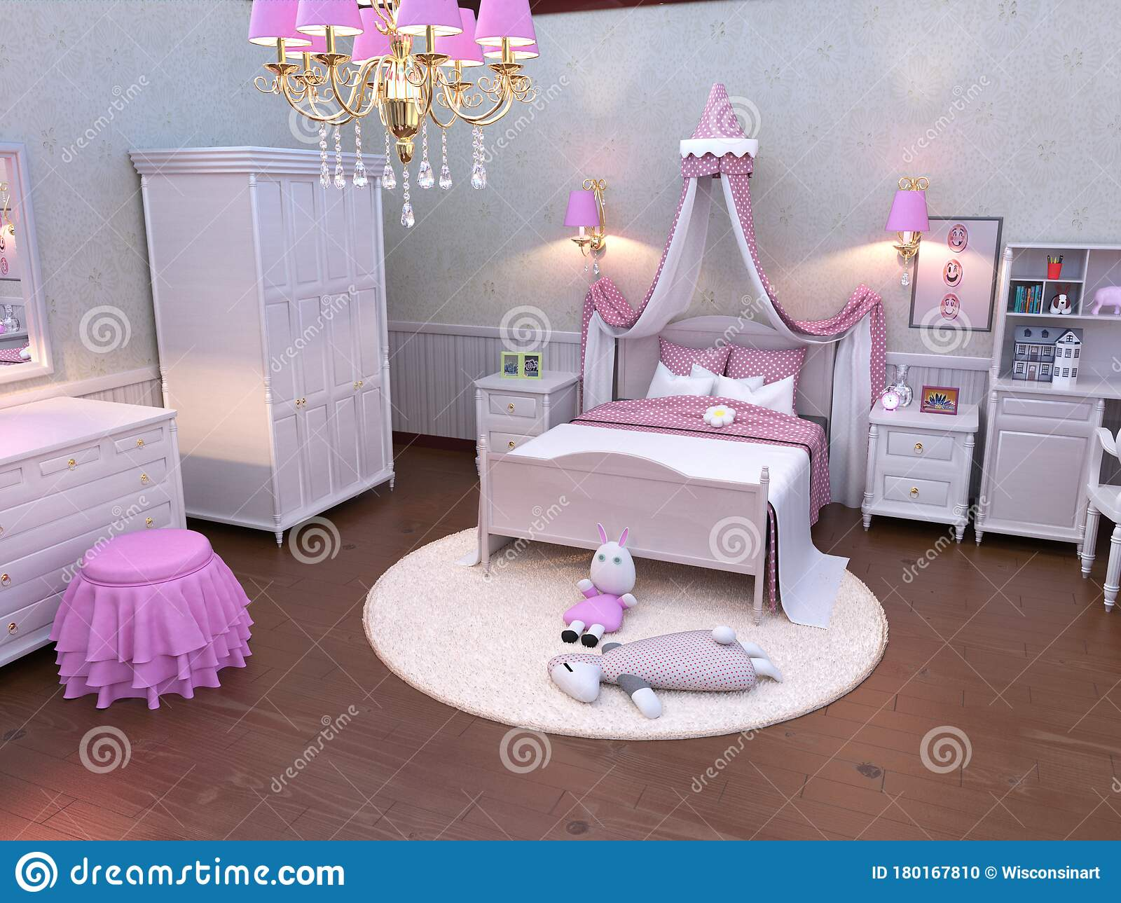 Pink Young Children Girl Bedroom Home Stock Photo Image Of Pink Decorated 180167810