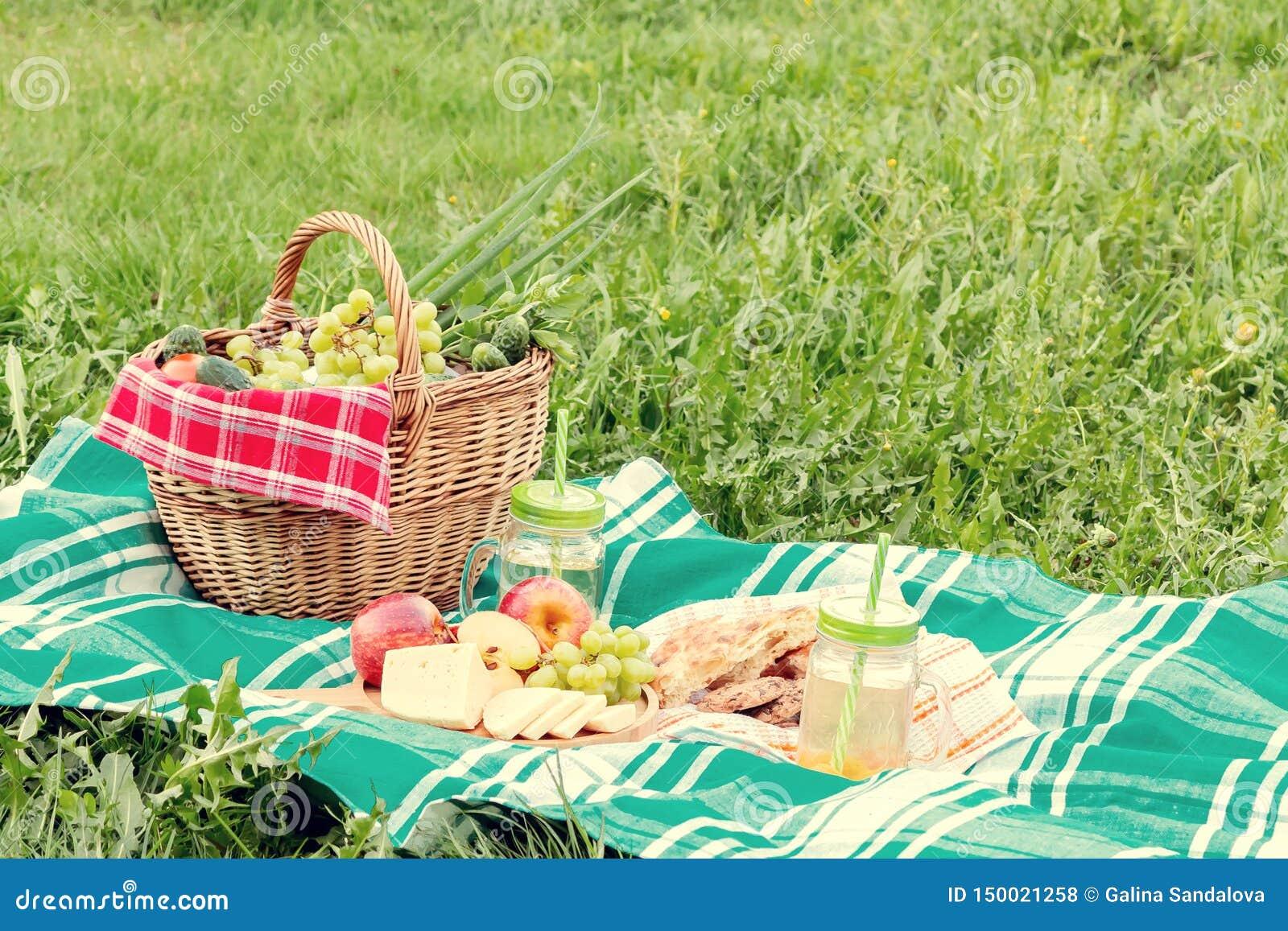 Pinkin na trawie na letnim dniu poj?cie lata plenerowy odtwarzanie - kosz, winogrona, ser, chleb, jab?ka -