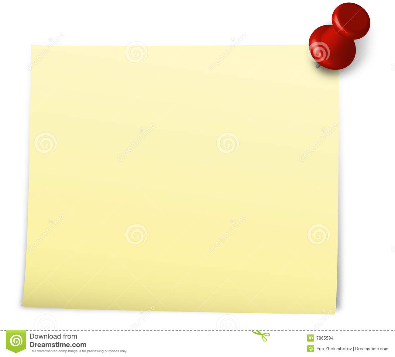 Vector illustration of a yellow blank note pinned by a red pin.