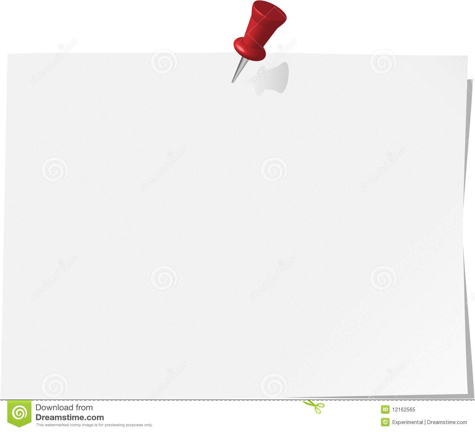 pinned note paper, white stock illustration. illustration of vector