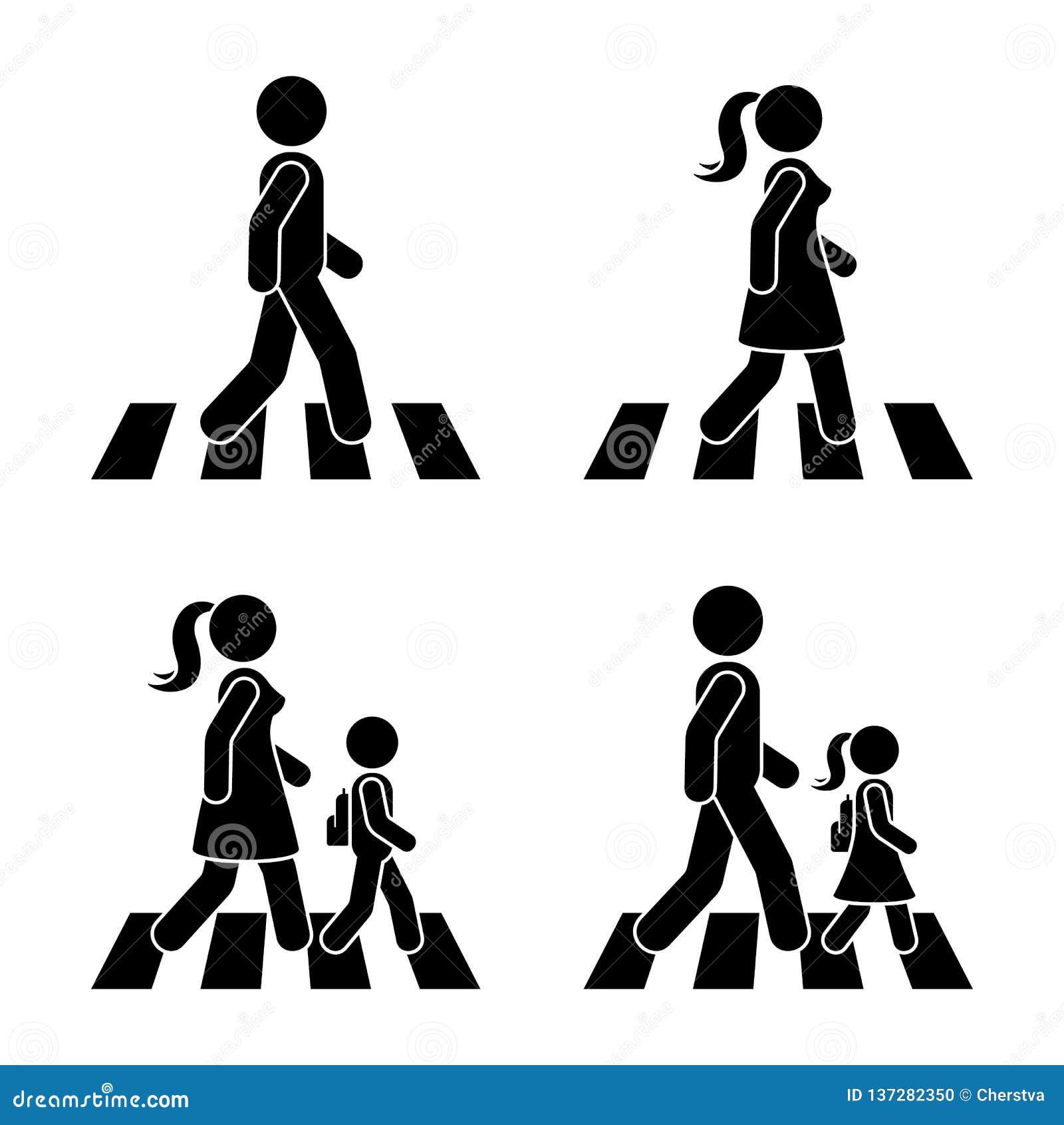 Pinnediagram som går den fot- vektorsymbolspictogramen Man, kvinna och barn som korsar väguppsättningen