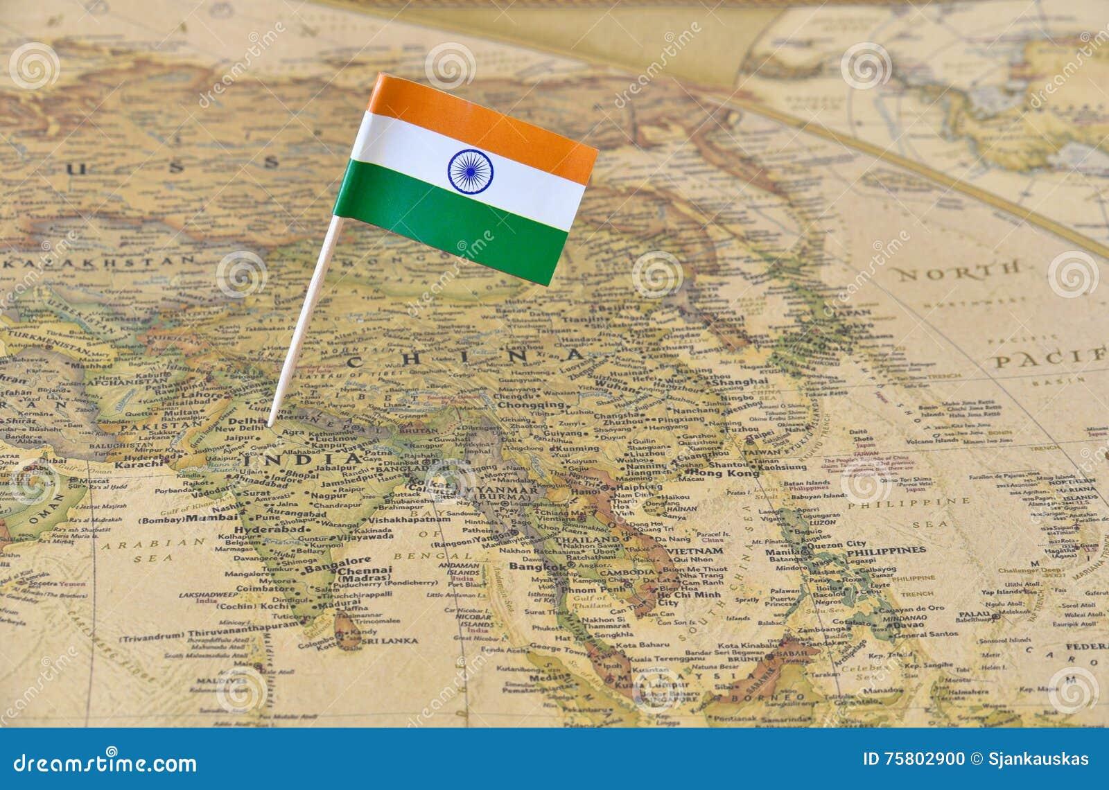 Pino da bandeira da Índia no mapa