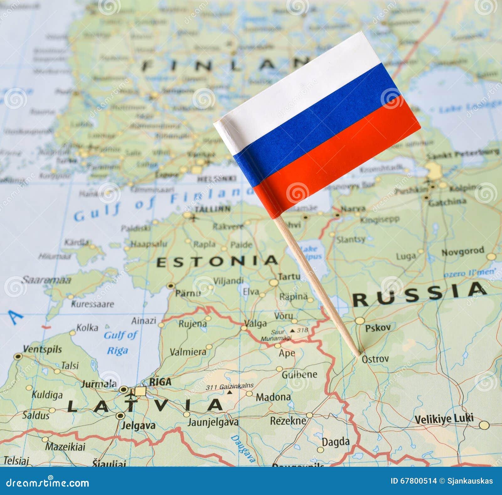 Pino da bandeira de Rússia no mapa