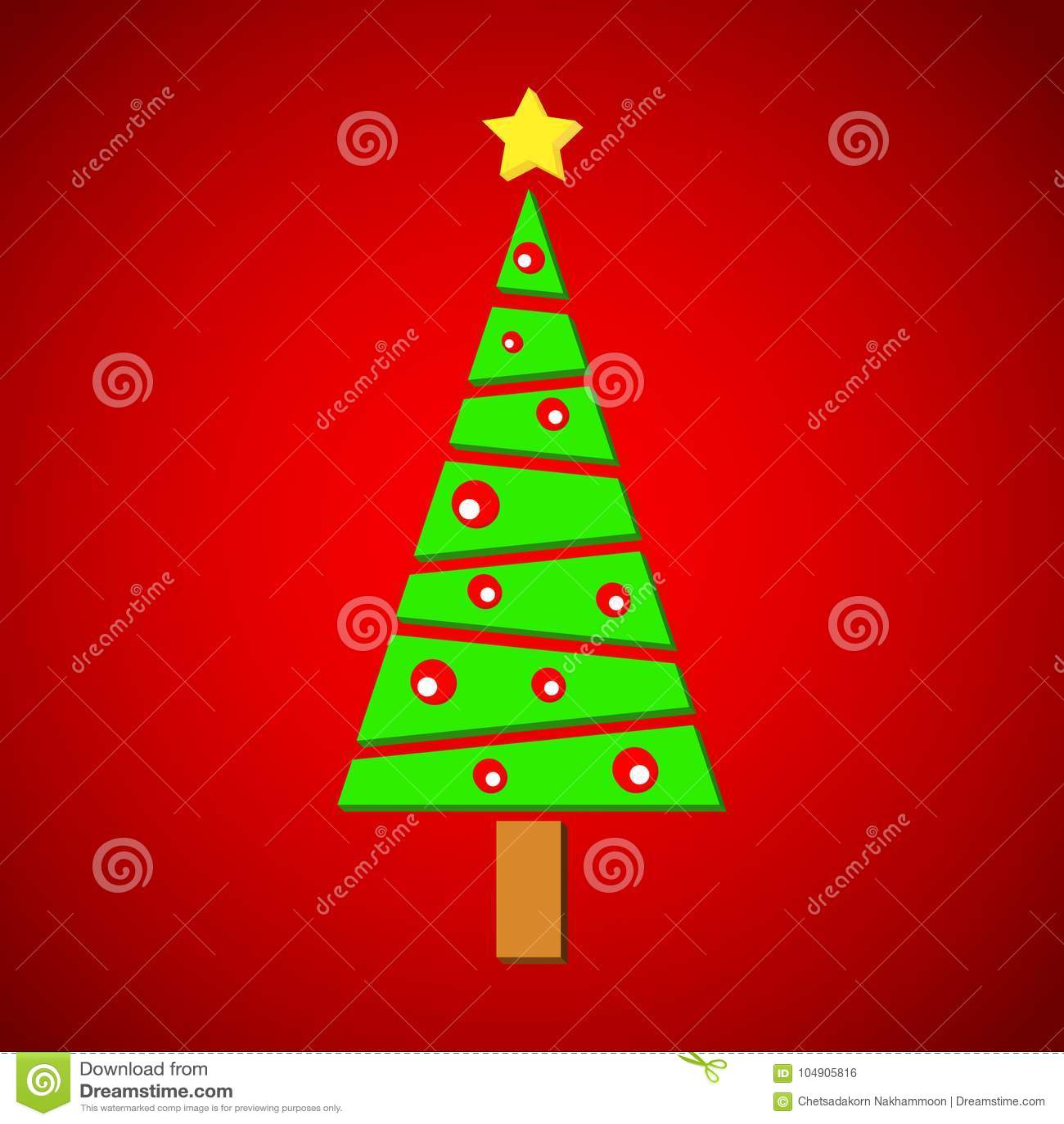 Pino de la Navidad en fondo rojo
