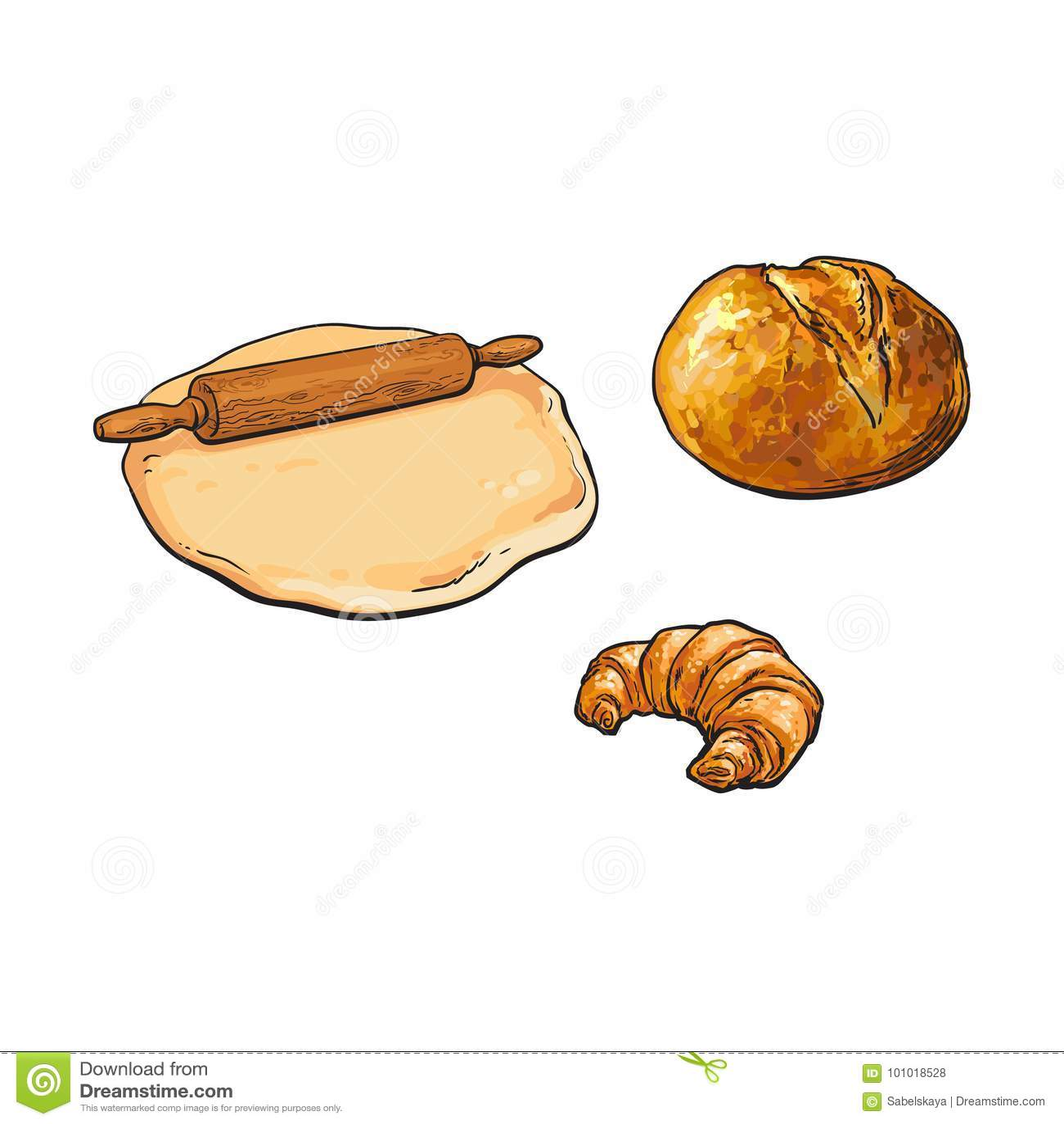 Pino do rolo, massa, pão e croissant de madeira