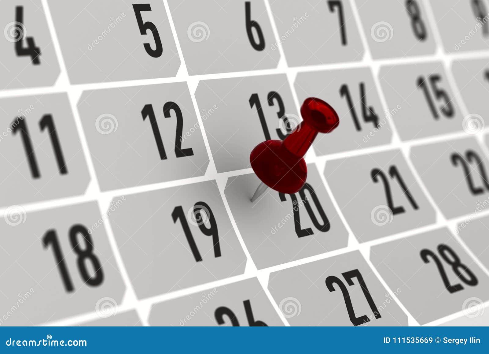 Marca Calendario.Pino Vermelho Que Marca O Dia Importante No Calendario Ilustracao 3d