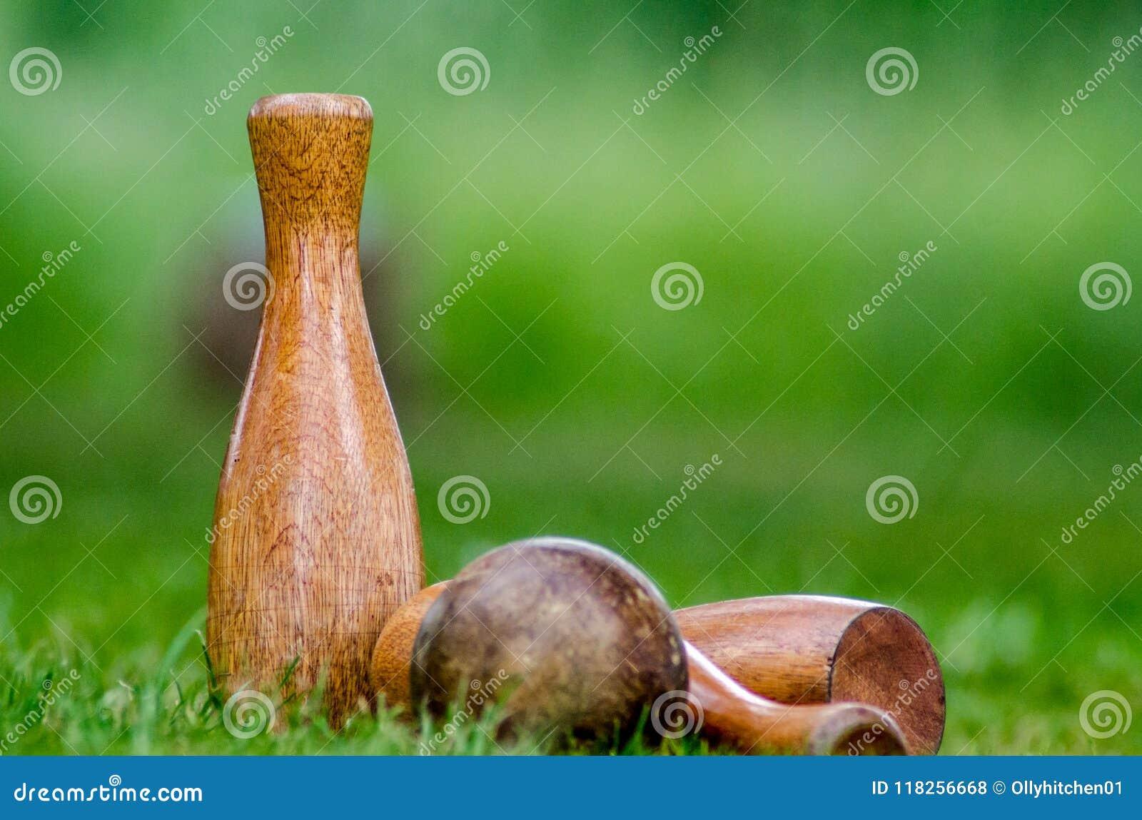 Pinos de madeira de um gramado ajustados