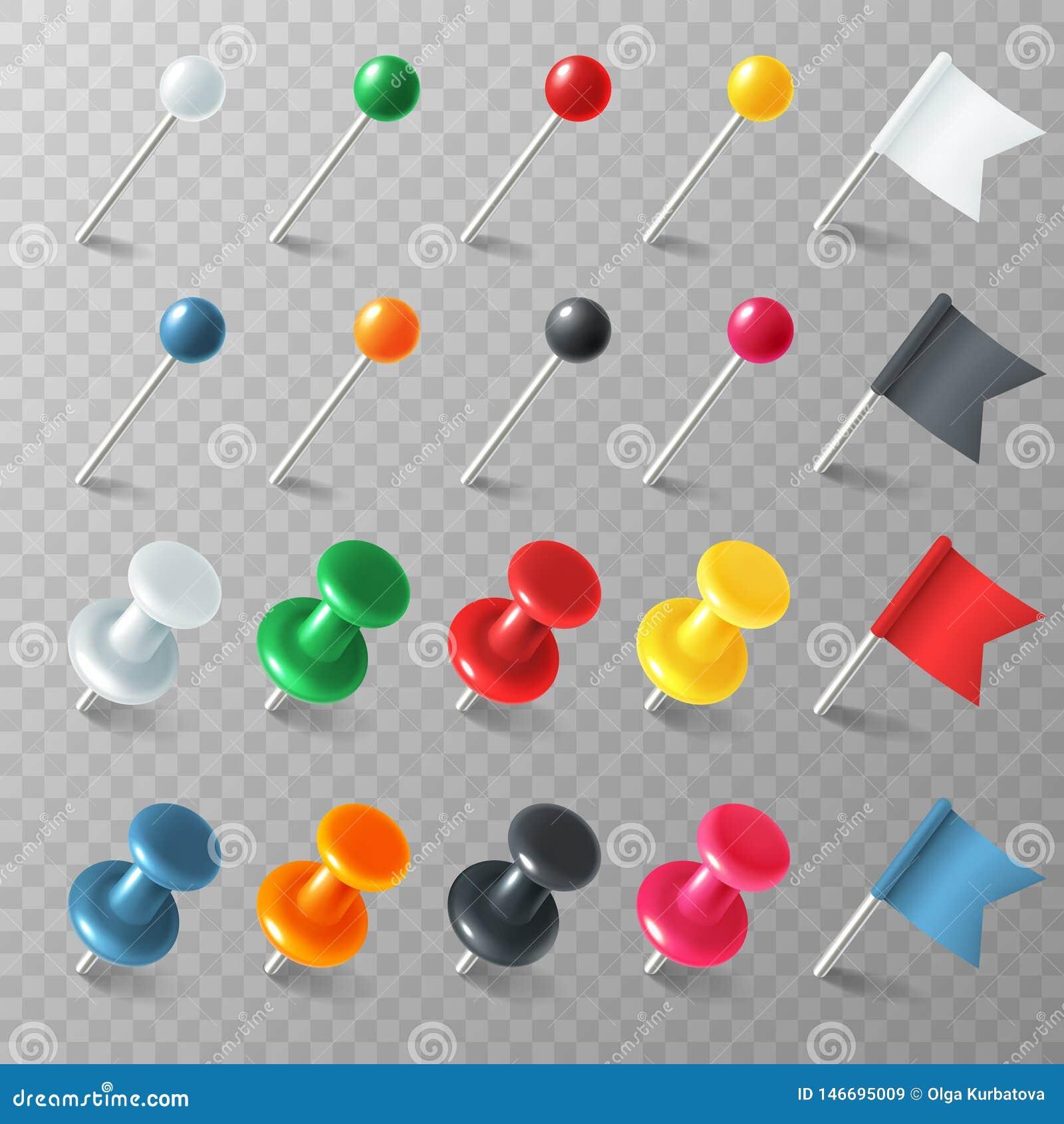 23 Pins Flags Tacks. Colored Pointer Marker Pin Flag Tack Pinned ...