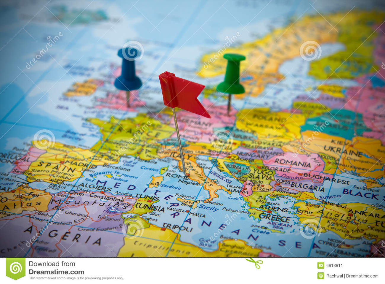 pins in a map of europe stock image  image of guide  road
