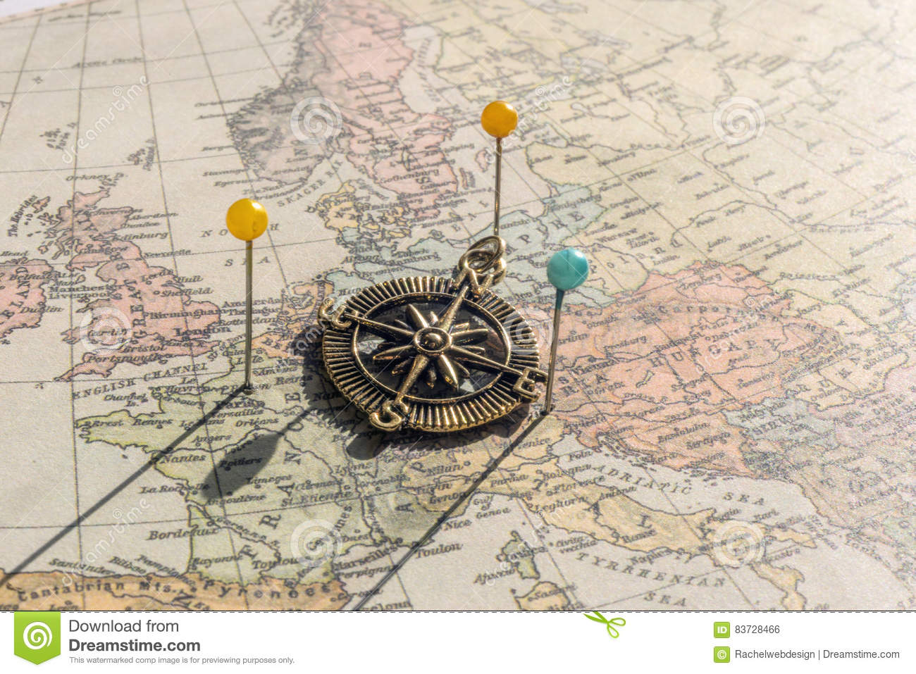 Pins and vintage compass on an old world map stock photo image of download comp gumiabroncs Image collections