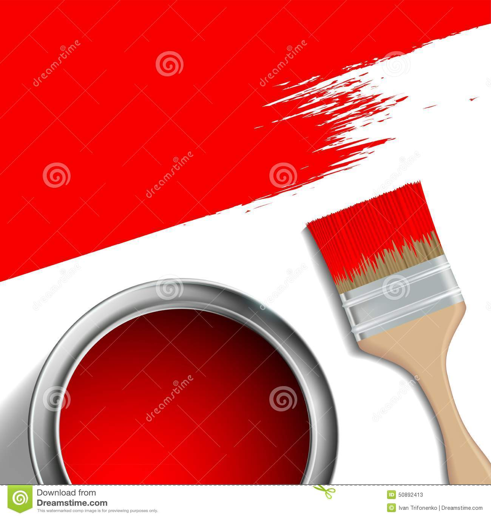 Pinsel Und Ein Eimer Rote Farbe Stockbild Bild Von Heimarbeit