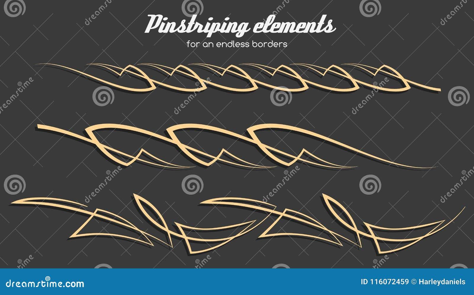 Pinstriping Ornament Elements Vector Set Stock Vector Illustration Of Pinstriping Racing 116072459