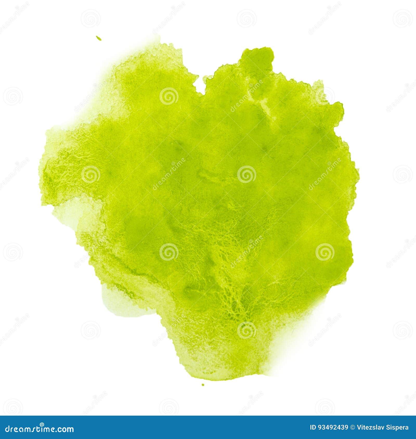 Pintado à mão da aquarela do respingo da cor verde isolado no fundo branco