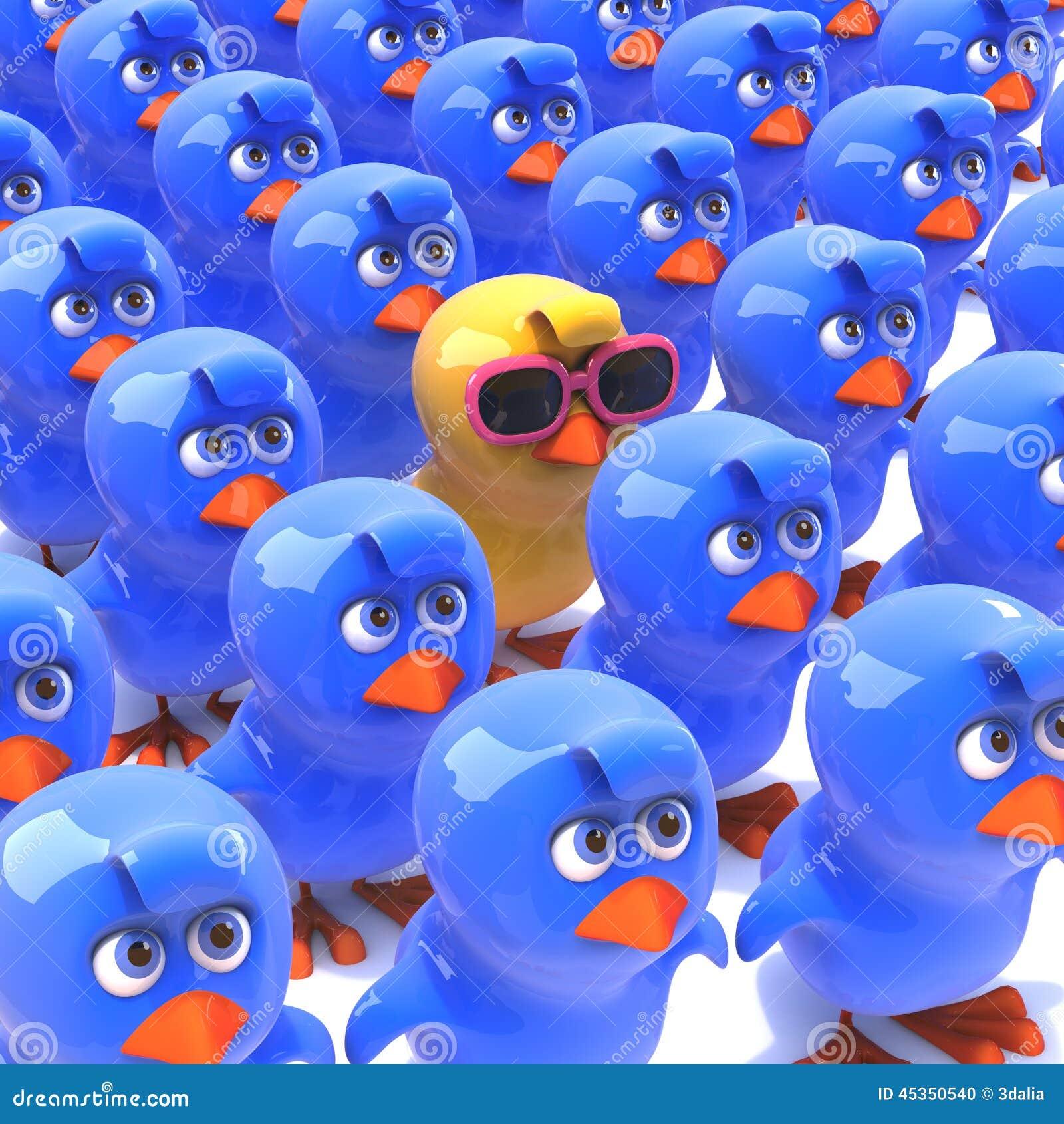 Pintainho 3d Um Amarelo Em Uma Multidão De Azulão-americano ... dfa3f9b744