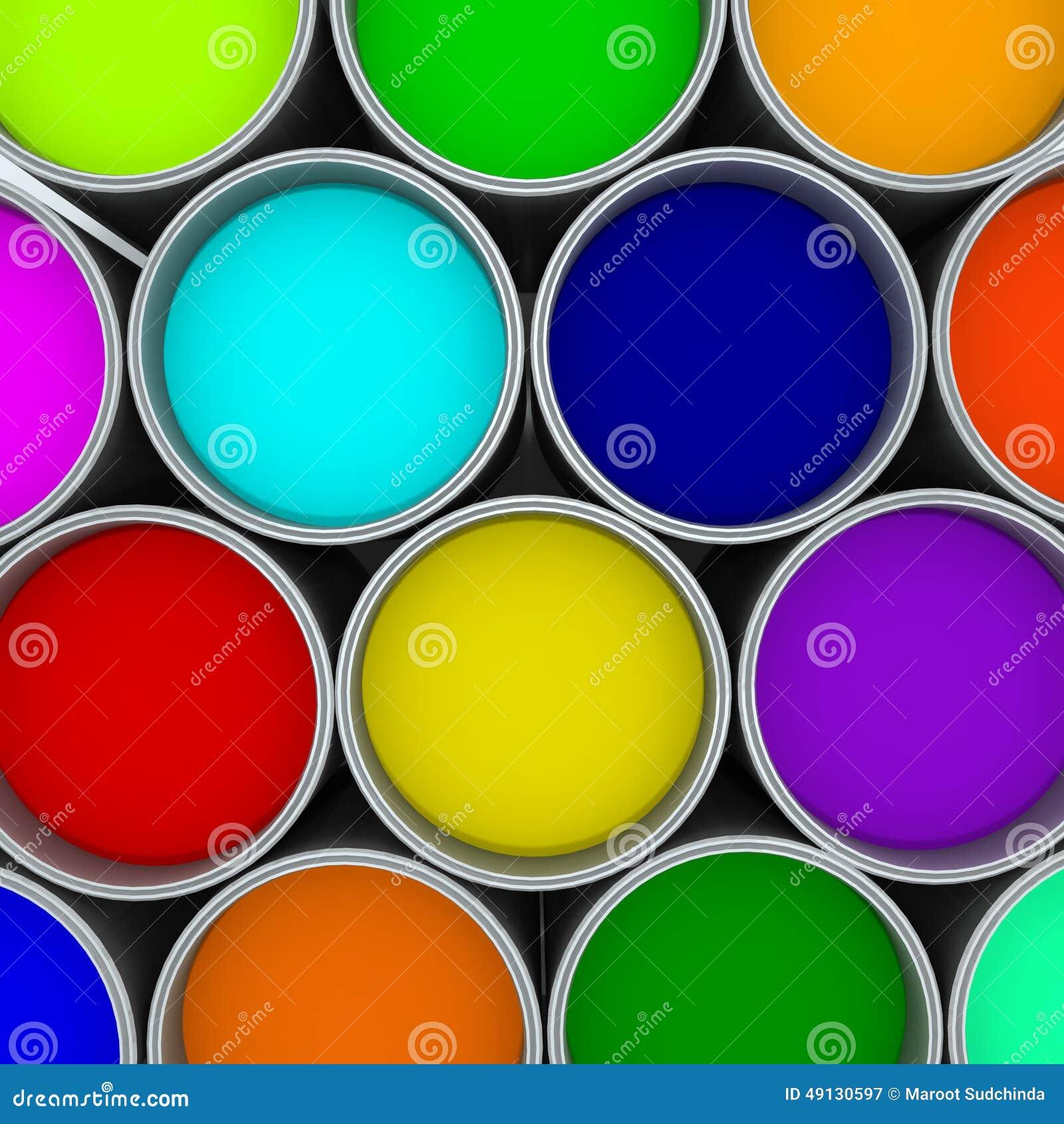 Pinte la paleta de colores de las latas,