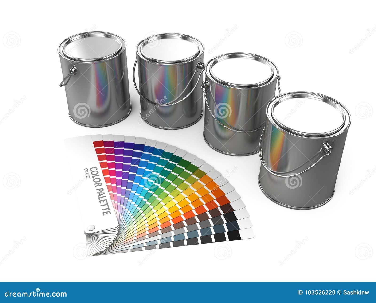 Pinte las latas y la guía de la paleta de colores aisladas en el fondo blanco
