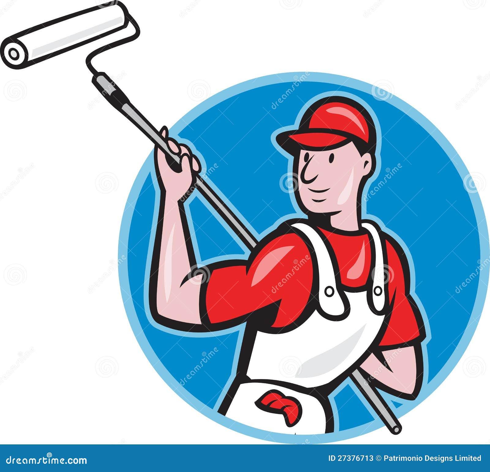 Pintor de casa con la historieta del rodillo de pintura - Rodillo para lacar ...