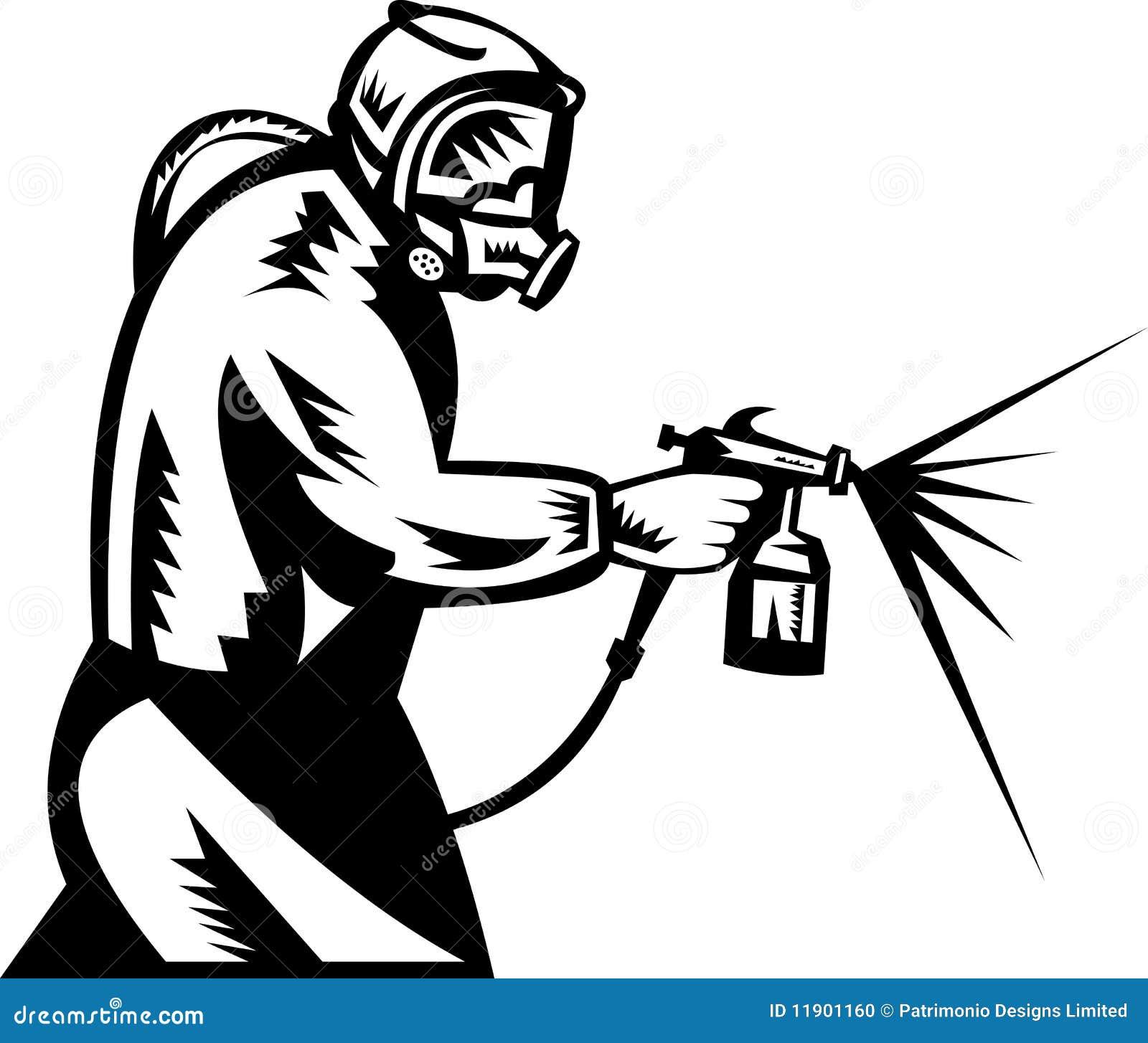 Pintor del aerosol en el trabajo