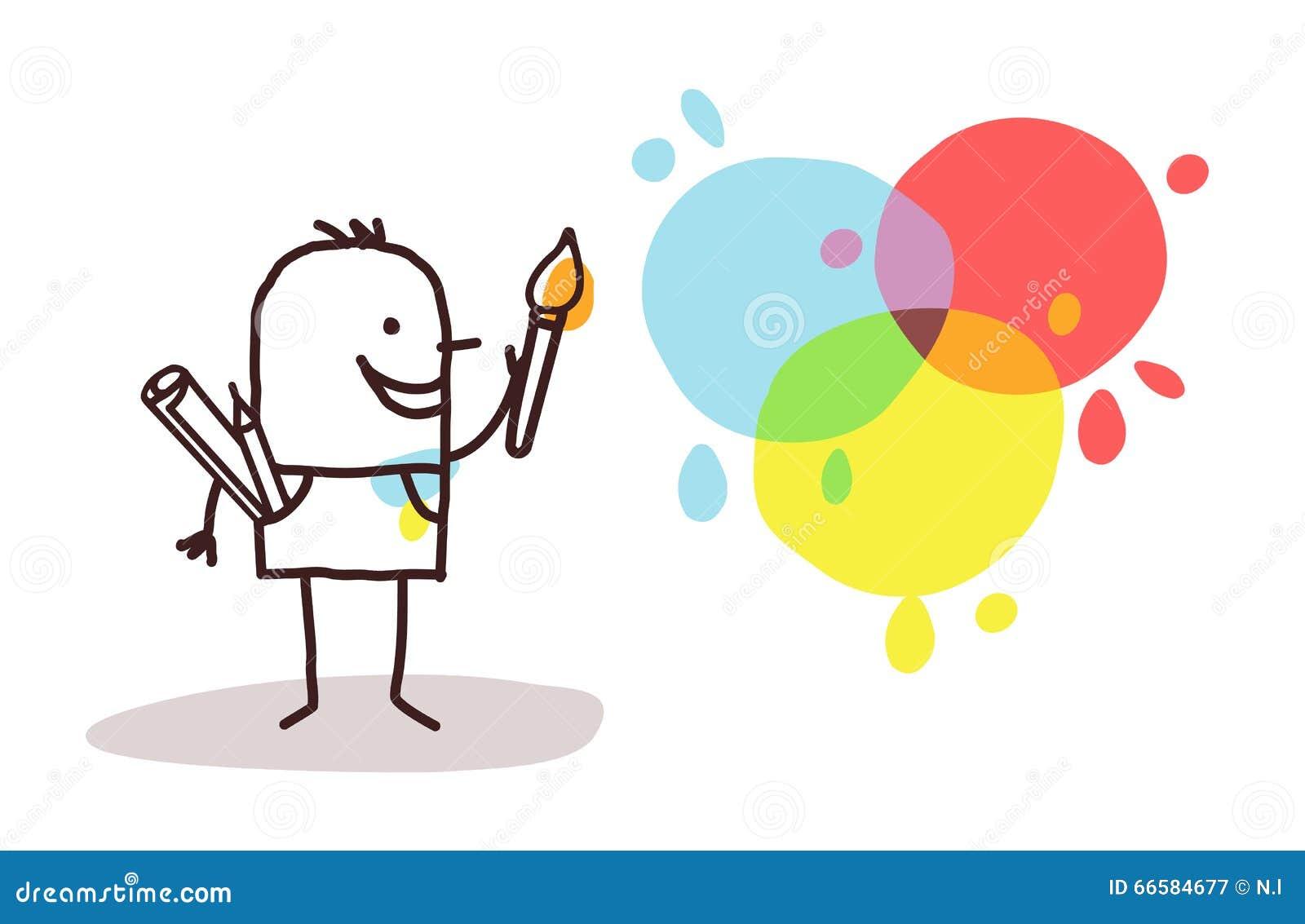 Pintor y colores del artista