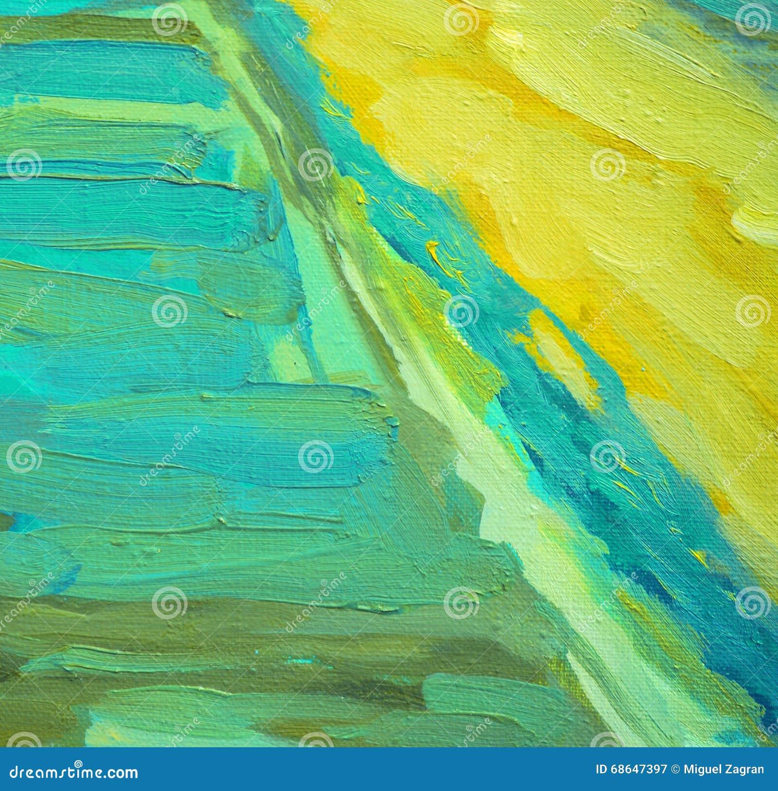 Pintura a óleo abstrata decorativa na lona, ilustração