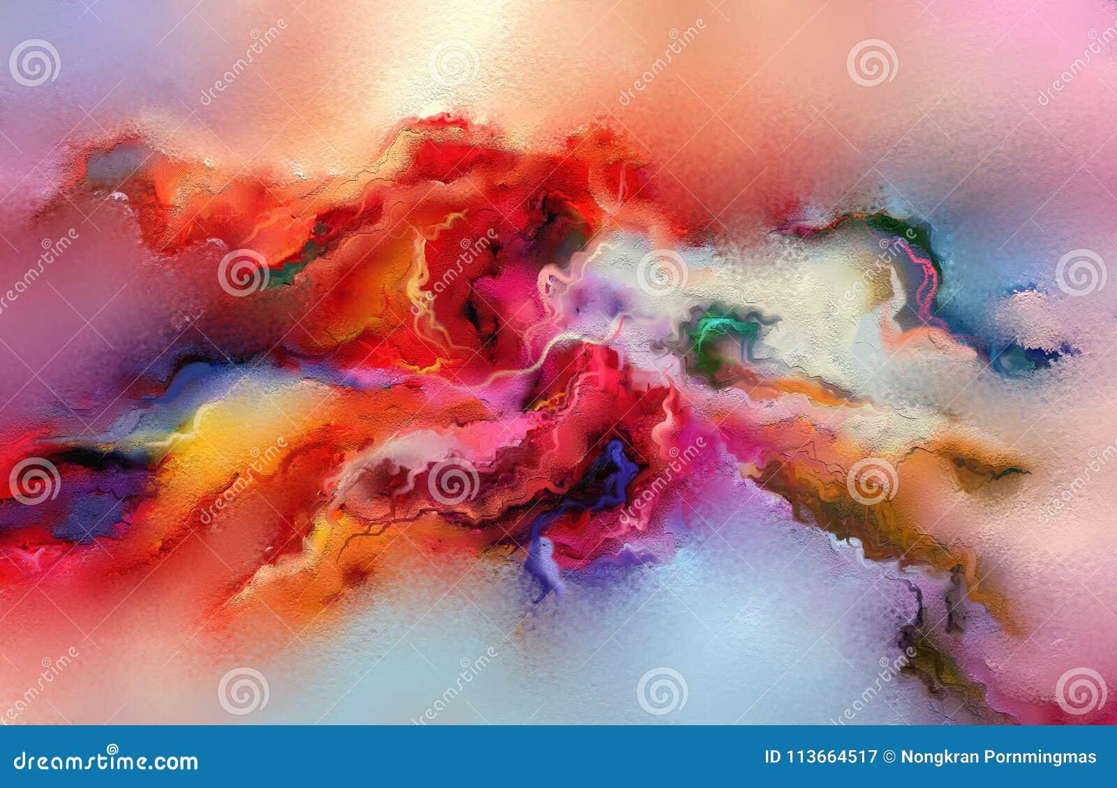 Pintura a óleo colorida abstrata na textura da lona