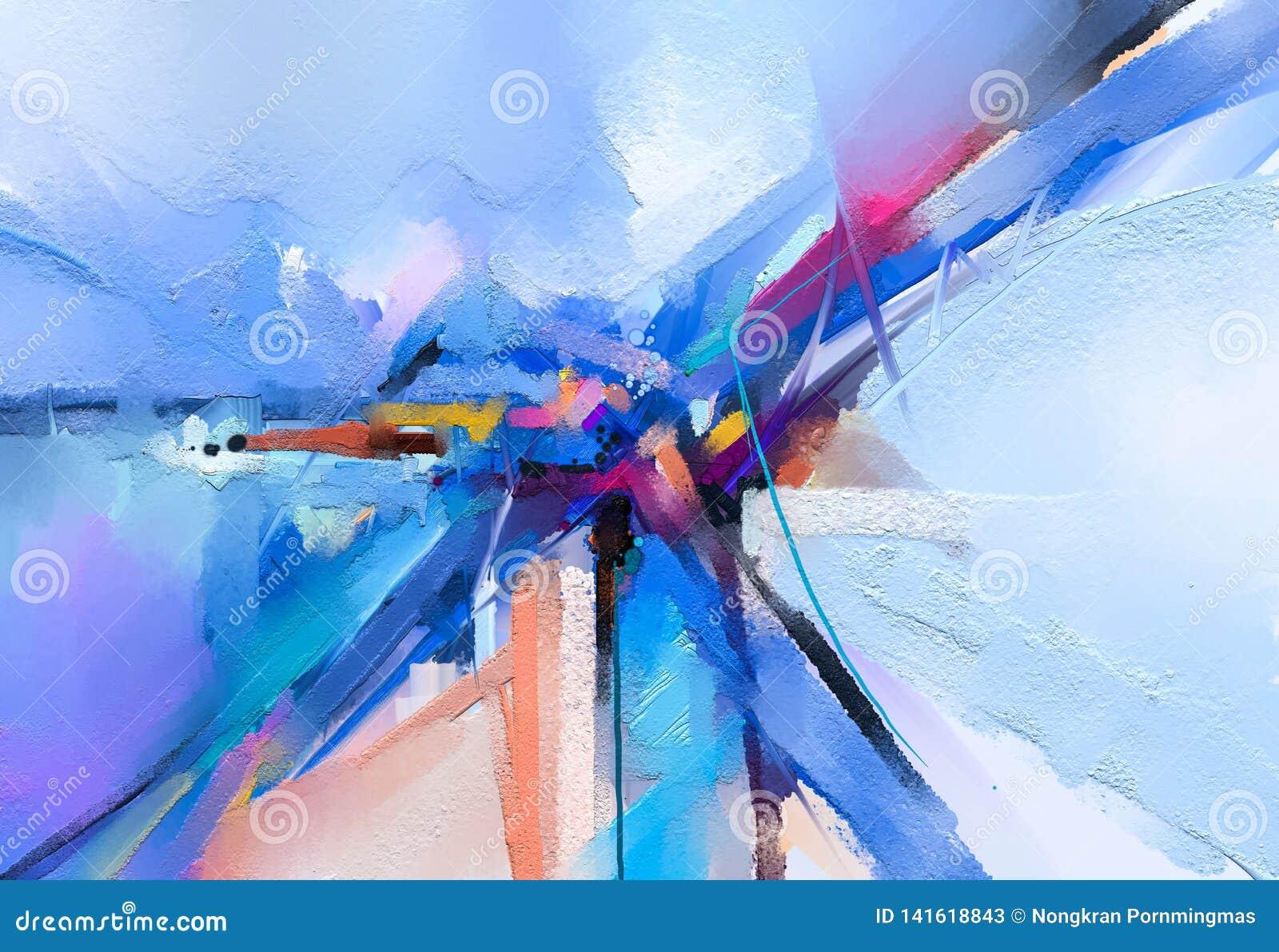Pintura a óleo colorida abstrata na textura da lona Curso tirado mão da escova, fundo das pinturas da cor de óleo