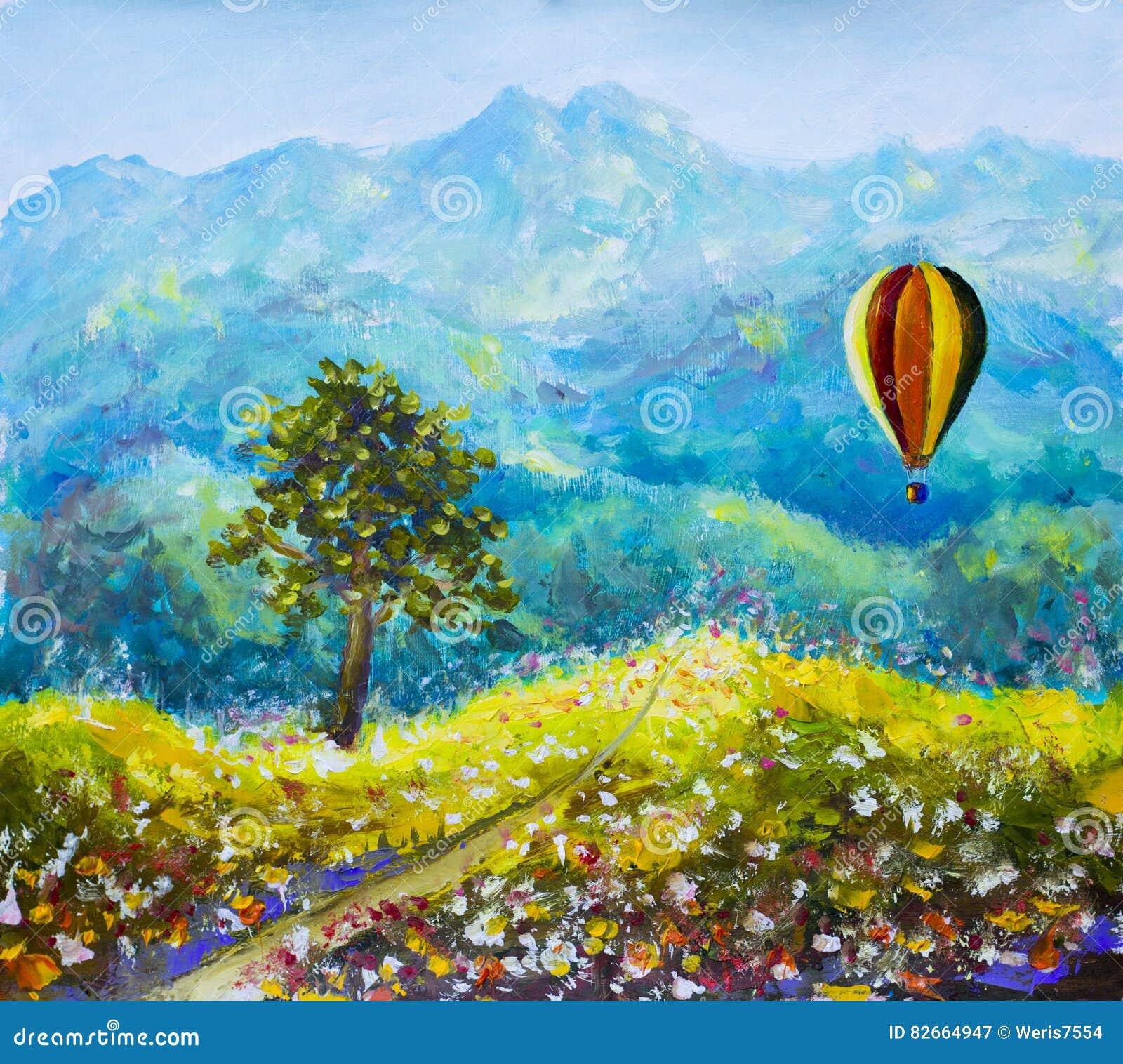 Pintura a óleo colorida do balão das montanhas