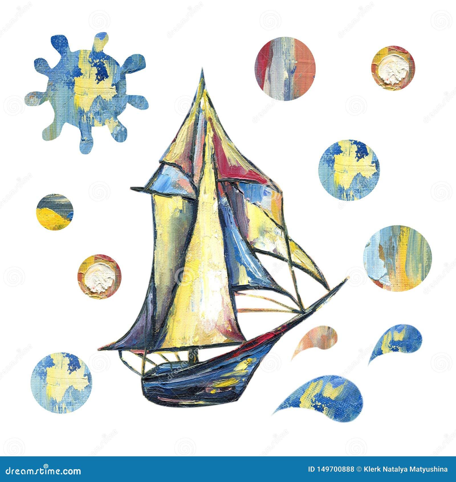 Pintura a ?leo com a imagem do mar, navio, nuvens, lua Para o projeto dos fundos, cart?es, c?pias, tampas, pacotes,