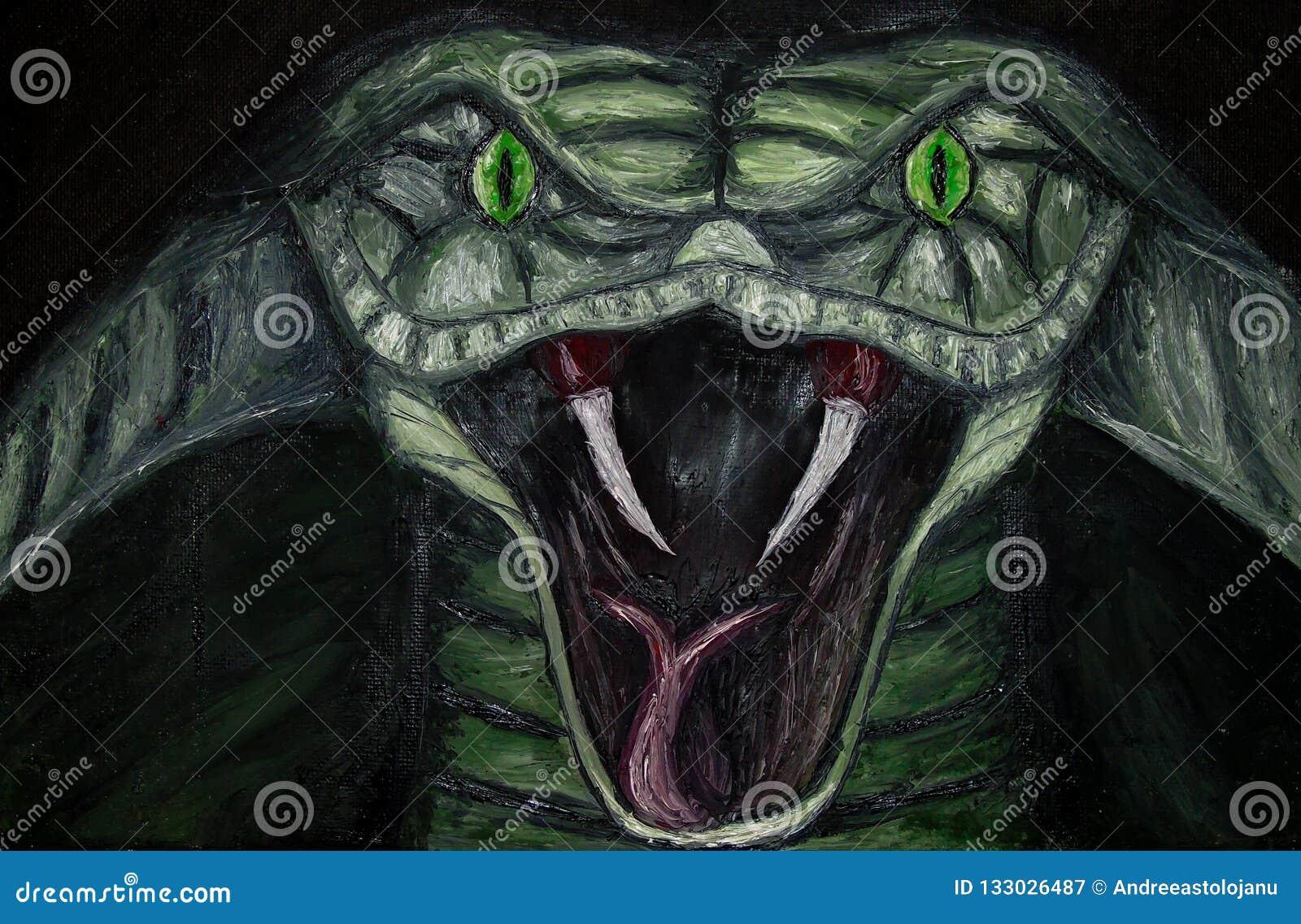 Pintura a óleo do close up de uma serpente ameaçando verde da cobra com os olhos verdes na lona, animal perigoso isolado no fundo