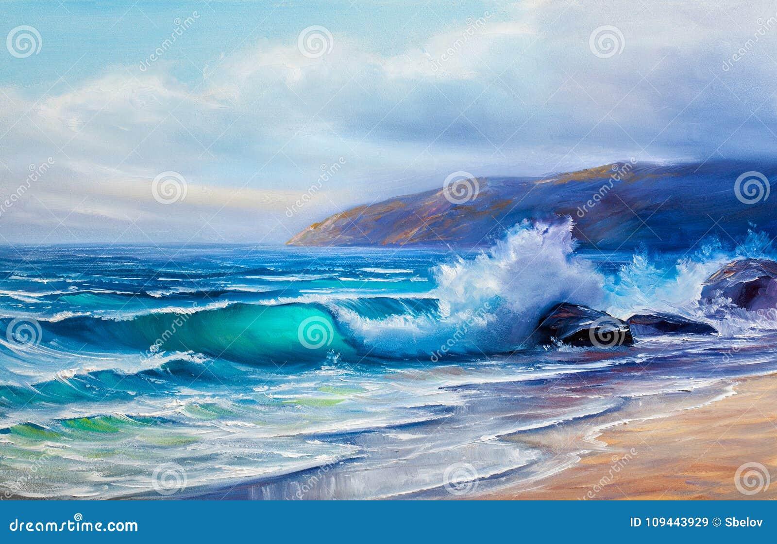 Pintura a óleo do mar na lona