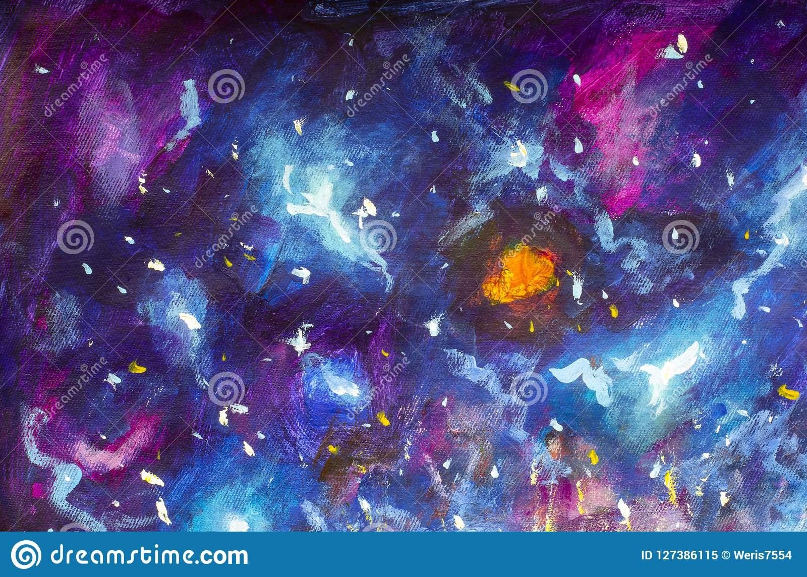 Pintura a óleo na lona cosmos Azul-violeta, o universo, galáxias da estrela Arte moderna