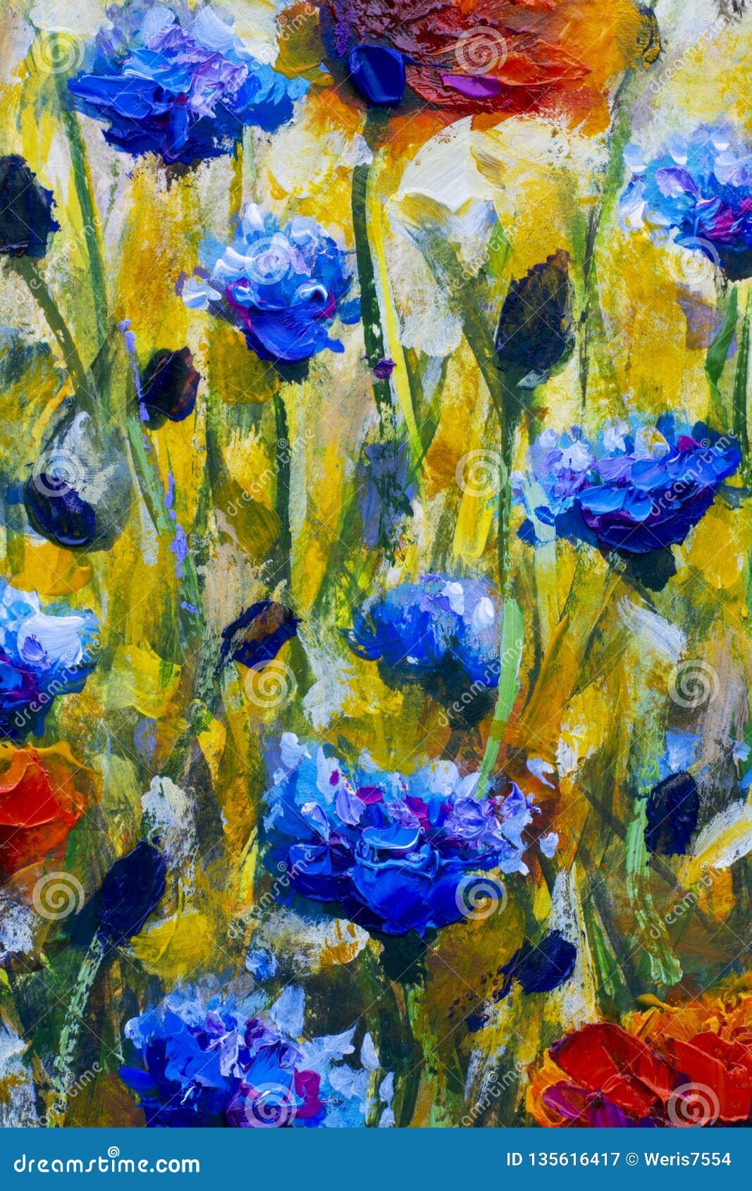 Pintura a óleo no prado moderno da flor do impressionismo da lona com papoilas