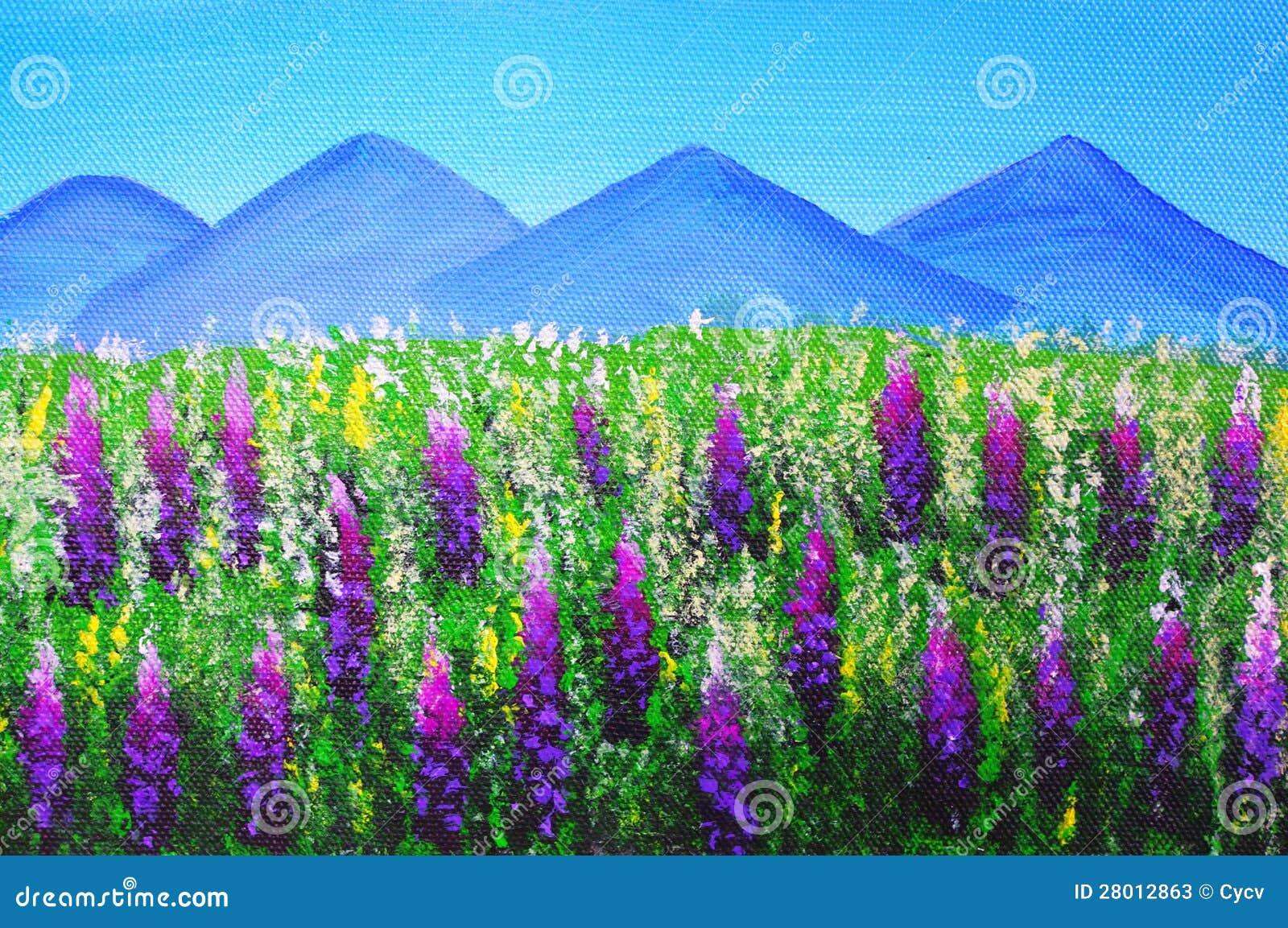Pintura a óleo - paisagem em Nova Zelândia